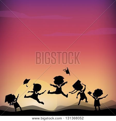 Cartoon Silhouettes of excited happy college graduate student jump on the top of mountain