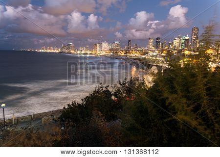 The city of Tel Aviv at night. Israel