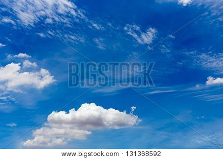 Cirrostratus cirrus cumulus clouds on blue sky