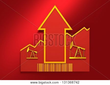 Oil pump icon and rise up arrow. Growth diagram and bar code. 3D rendering