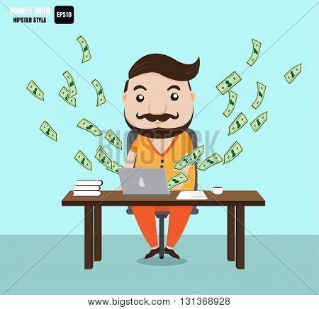 Money man and hipster style from vector