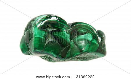 Polished botryoidal malachite with silky chatoyant effect due to fine velvety crystals from China