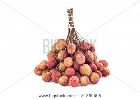 Fresh Lychee With Isolate White Background