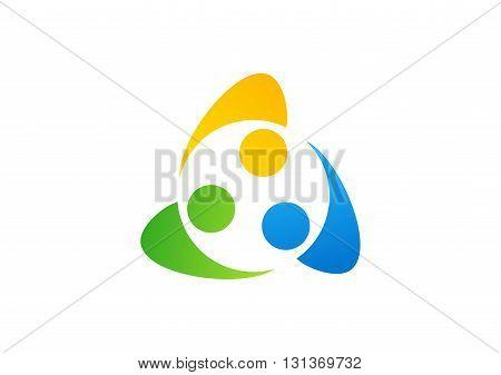 teamwork education logo, friendship united symbol icon vector design.