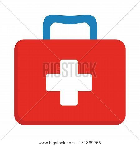 First aid kit box flat object. Medicine chest with cross and medical equipment. Medications for emergency. Healthcare flat vector illustration isolated on white background