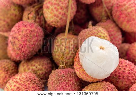 Fresh Lychees Fruit With Isolate White Background