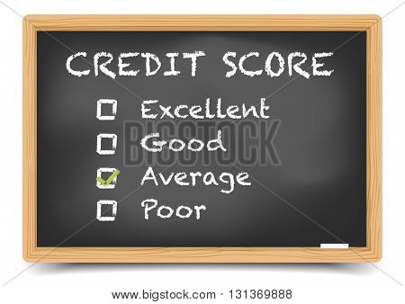 detailed illustration of checkboxes with Credit Score Rating Average on a blackboard, eps10 vector, gradient mesh included