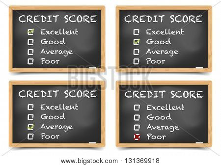 detailed illustration of checkboxes with Credit Score Ratings on a blackboard, eps10 vector, gradient mesh included
