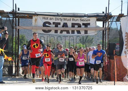 Acton, California/USA-May 21 2016:People in the Hot and Dirty Mud Run