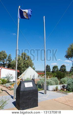PRINCIPALITY OF HUTT RIVER,WA,AUSTRALIA-APRIL 20,2016: Flag and stone marker in the unique Sovereign State the Principality of Hutt River independent oldest micro nation located in Western Australia.