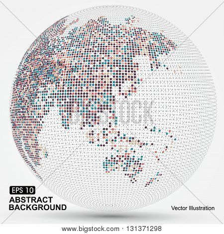 Dots colorful three-dimensional map of the worldabstract graphics.
