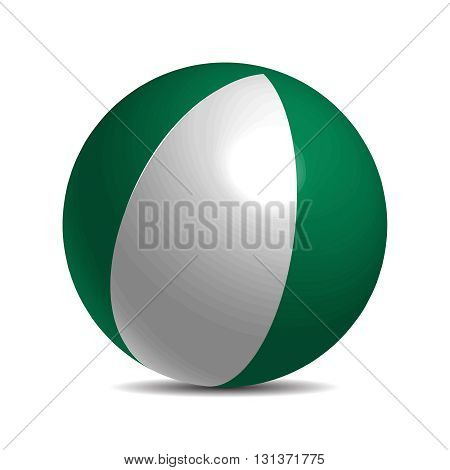 Nigeria flag on a 3d ball with shadow, vector illustration