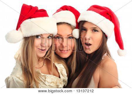 Fundo de Natal: namoradas na tampa de santa