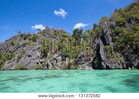 Wonderful lagoon in El Nido Philippines . Rock and sea water