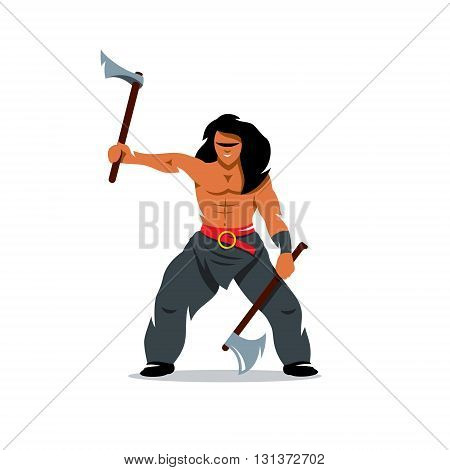 Barbarian Warrior swinging arms. Isolated on a white background