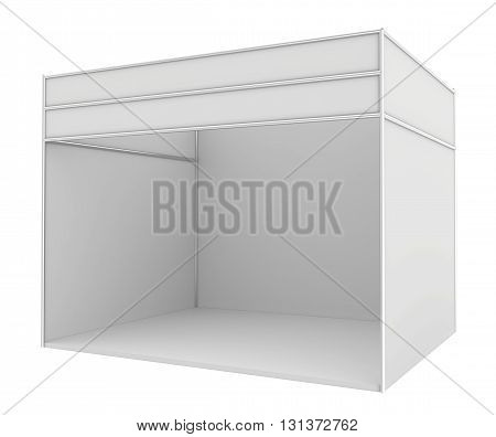 Blank trade exhibition stand. 3d render isolated on white background.