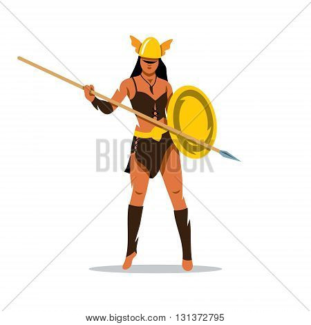 Woman in a helmet holding shield and a spear. Isolated on a white background