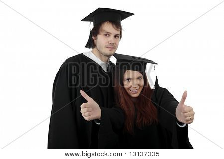 Portrait of a young people in an academic gown. Education background.