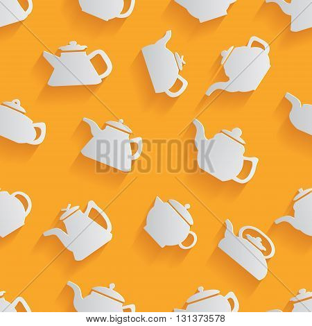 Seamless pattern of the kettle with a long shadow. Vector illustration on an orange background