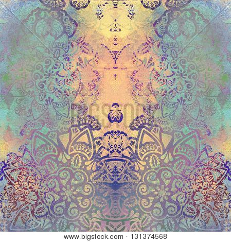 pale floral design on spotted background colored