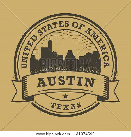 Grunge rubber stamp or label with name of Texas, Austin, vector illustration