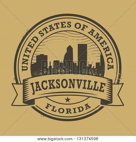 Grunge rubber stamp or label with name of Florida, Jacksonville, vector illustration