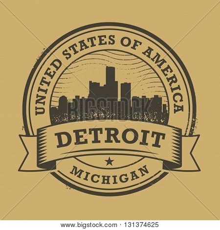 Grunge rubber stamp or label with name of Detroit, Michigan, vector illustration