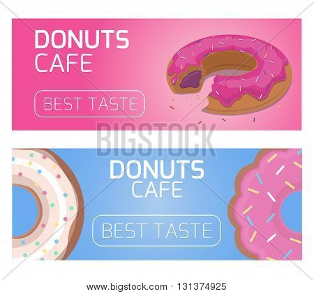 Template banner flyer gift certificate for cafe donuts. Flat donuts. Design element for your creativity