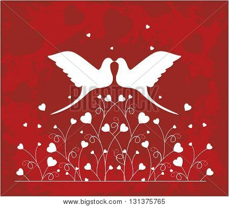 Pair of doves in love, vector silhouette, valentine or wedding card design