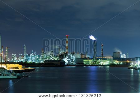 Industrial Factory working at night
