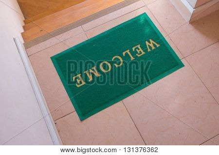 Green welcome carpet decoration at home for decoration