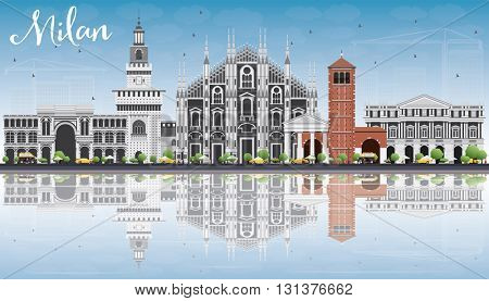 Milan Skyline with Gray Landmarks, Blue Sky and Reflections. Vector Illustration. Business Travel and Tourism Concept with Historic Buildings. Image for Presentation Banner Placard and Web Site.