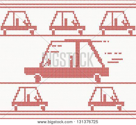 Red knitted car. Vector illustration. Christmas seamless pattern for banner, placard, billboard or web site. New Year retro greeting card and background. Image for invitation