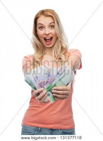 money, finances, investment, saving and people concept - happy young woman with euro cash money