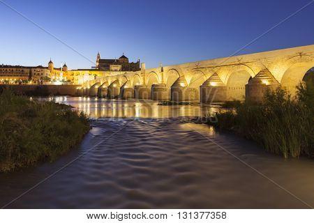 Night shot of the famous Roman Bridge over Guadalquivir river at Cordoba, Spain