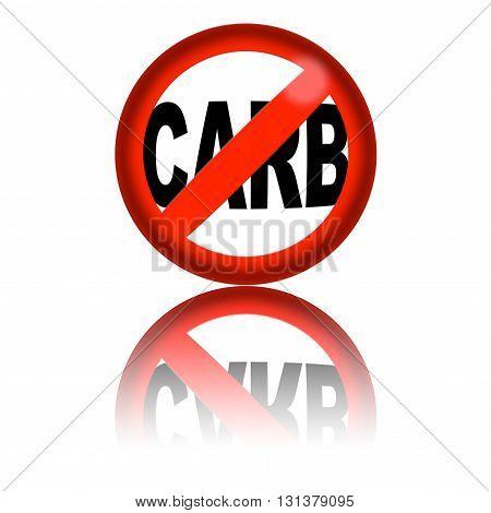 No Carb Sign 3D Rendering