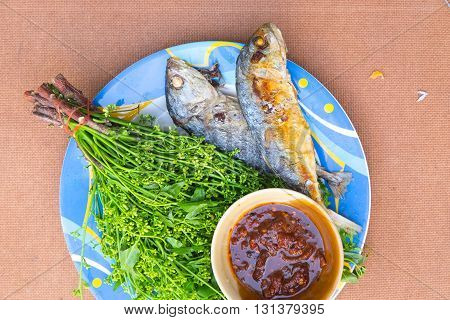 Boil Margosa with fried mackerel and sweet sauce delicious Thai style food