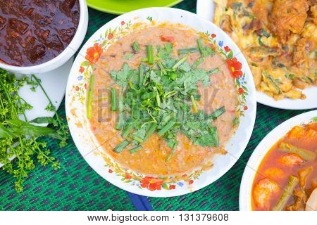 Fermented fish spicy dip (Nam Prik Pla-ra as Thai pronunciation) Thailand style of food