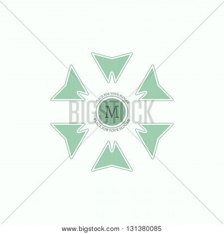 The letter M. Flourishes calligraphic monogram emblem template. Luxury elegant frame ornament line logo design vector illustration. Example designs for Cafe, Hotel, Heraldic, Restaurant, Boutique