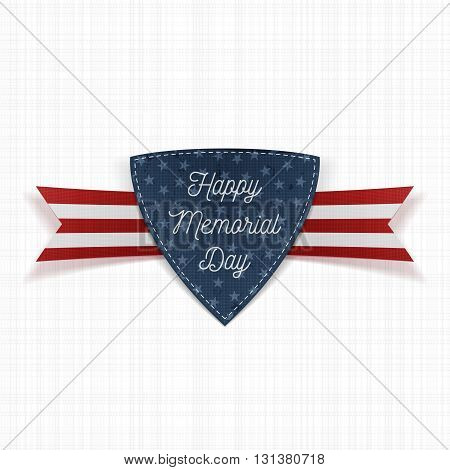 Happy Memorial Day realistic Emblem and Ribbon. National American Holiday Background Template. Vector Illustration.