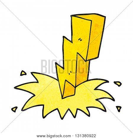freehand textured cartoon lightning bolt