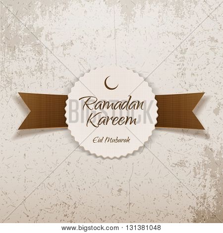 Ramadan Kareem Eid Mubarak religious Label with Ribbon. Islam Holiday Background Template. Vector Illustration