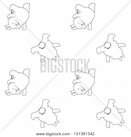 Vector animal seamless pattern. Outlined fun cartoon rabbit silhouettes on white background. Hip hop,break-dance.