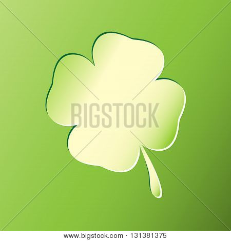 Four leaf clover, stamped, on the green background. Shamrock leaf. Vector shamrock icon, Clover leaf icon.