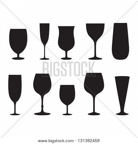 Glass set or collection. Vector silhouettes isolated on white background.
