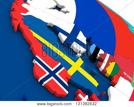 Scandinavia On Globe With Flags