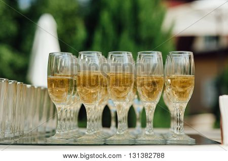 Wedding Glasses Filled With Champagne At Banquet