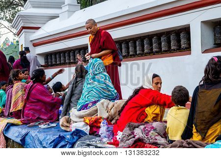 Kathmandu Nepal - May 212016 : Poor Nepali people are begging in Swayambhunath Stupa on Buddha Jayanti or Buddha's Birthday.