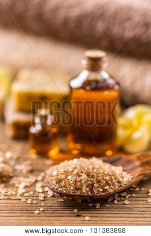 Natural bath salt organic products, on wooden background