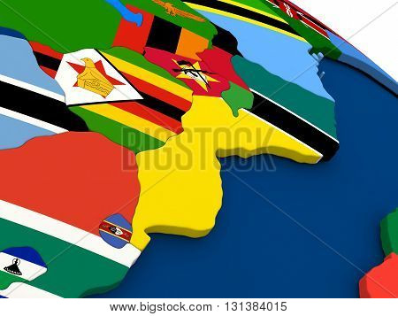 Mozambique And Zimbabwe On Globe With Flags